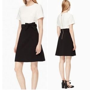 Kate Spade Ivory and Black A-Line Dress With Bow